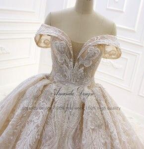 Image 4 - אמנדה עיצוב robe לונג soiree כבוי כתף תחרה Appliqued קריסטל שמפניה חתונה שמלה