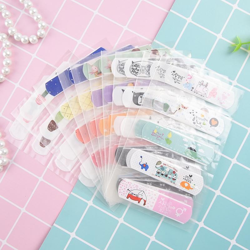 10pcs Waterproof Breathable Cute Cartoon Band Aid Hemostasis Adhesive Bandages First Aid Emergency Kit