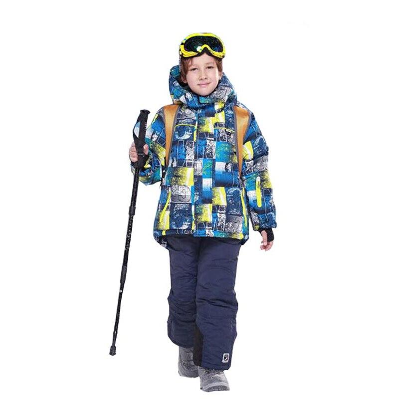 Dollplus enfants ensembles Ski Sport costumes pour garçons hiver chaud imperméable veste de Ski et pantalon à capuche extérieur Snowboard ensembles