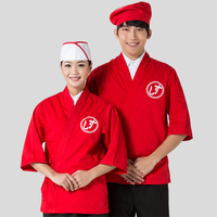 Hot Unisex Japanese Korea Style Medium Sleeve Chef Cook Uniform Chef Waiter Work Wear Waitress Shirt