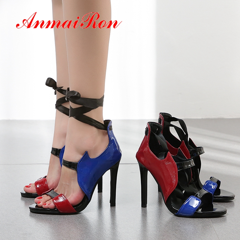 ANMAIRON 2019 Patent Leather Basic Party Summer Fashion Super High Sandals Mixed Colors Open Toe Heels Size 34 43 LY2056