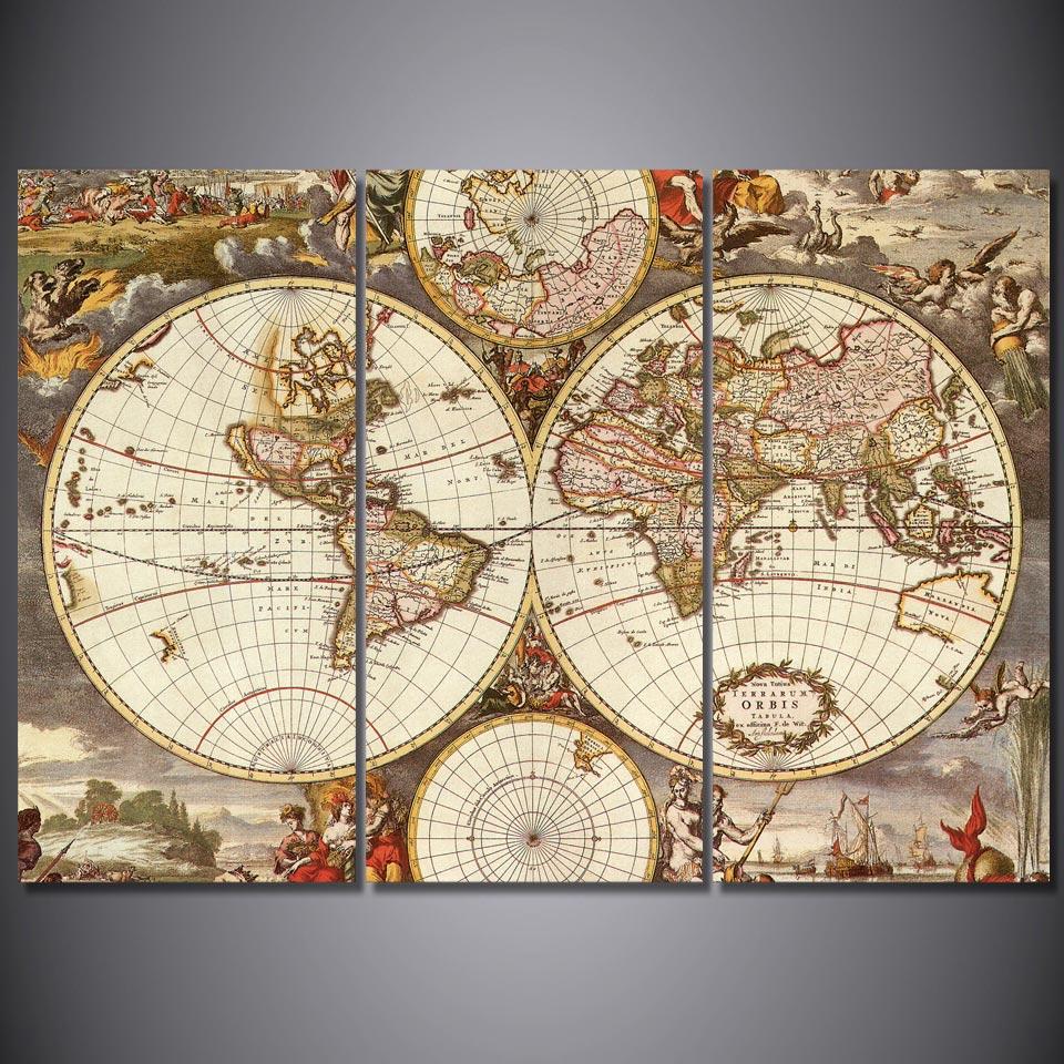 3 pièces/ensemble encadrée HD imprimé Vintage carte du monde affiche photo mur Art imprimer chambre décor nature morte toile peinture à l'huile
