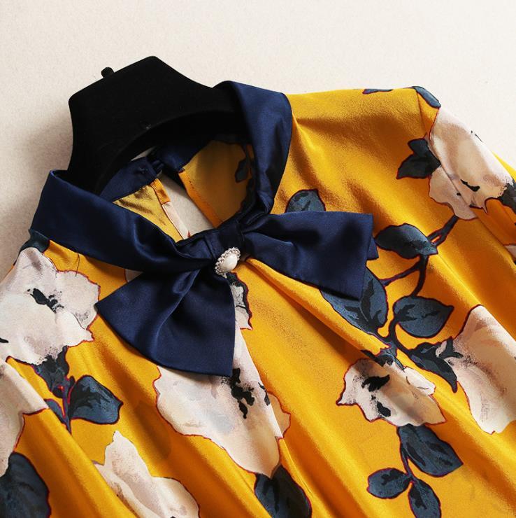 2019 Manches De Arc Imprimé À Style Jupe Printemps Soie Costume Américain Nouveau Et Européen Femmes Chemise Longues Mode Maille EXvvwq