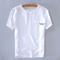 2019 Men's casual short-sleeved linen t-shirt embroidery fashion t shirt men brand summer white t shirts men tshirt chemise