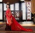 Красный Queen костюм красоты древнее императрица производительности Hanfu одежда полная вышивка полный комплект