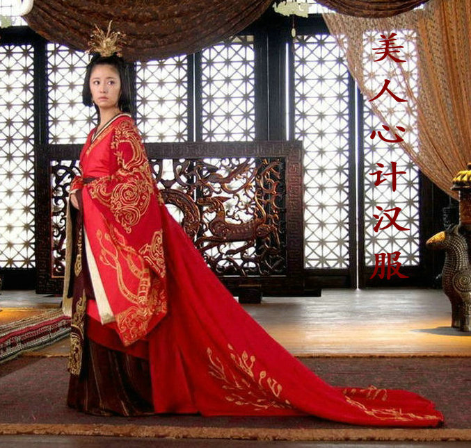 Red Queen Costume Beauty Ancient Empress Hanfu Performance Clothes Free Shipping Full Embroidery Full Set