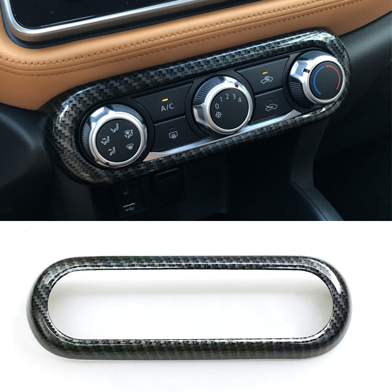 ABS Chrome Carbon fiber For Nissan Kicks 2016 2017 2018 car air conditioner Switch panel Cover Trim Car Accessories Styling
