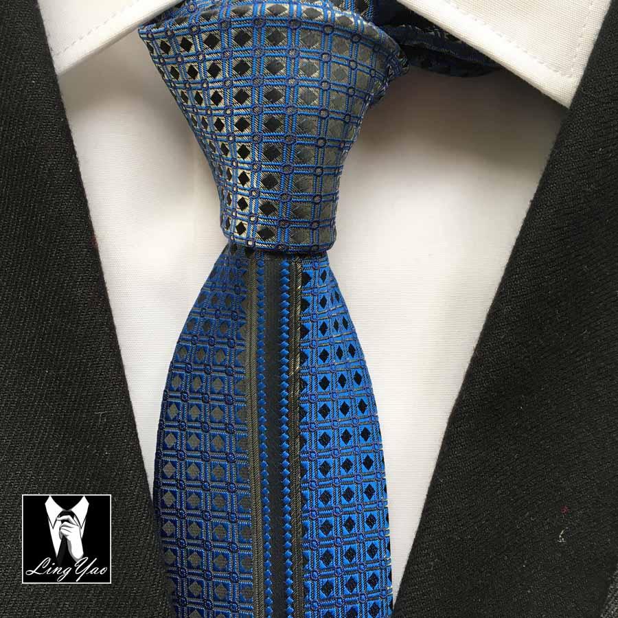 New Designers Slim Skinny Tie Mens Luxury Necktie Royal Blue Gravata With Character Woven Pattern