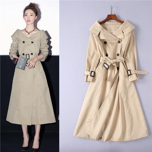 Coat Outerwear Autumn Long Fashion Women's Winter High-Quality Turn-Down Medium