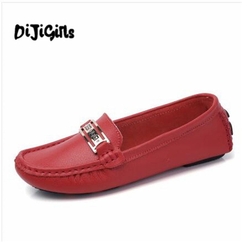Summer genuine leather women flats shoes female casual flat Slip On loafers Plus Size ladies red shoes black women's nurse shoes