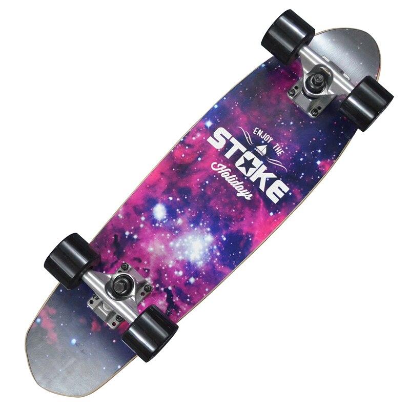 """Érable Cruiser 26x7 """"planche à roulettes professionnelle Longboard planche à roulettes complète Galaxy Floral"""