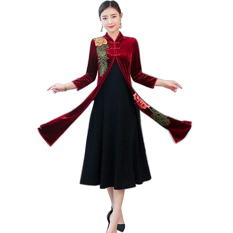 Décontracté Lin Nouveauté 2019 trimestre Coton O Nourriture Sept Bourgogne De cou Robe Printemps Femmes Robes Vintage Longues Distributeur D'été Imprimer cTlFJ13uK