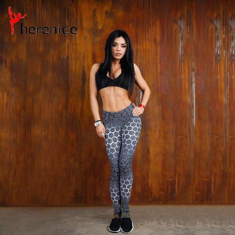 Herenice yoga pantolon kadın Hızlı Kuru Elastik Koşu pantolon Sıkıştırma Tayt Kalça Tozluk Spor ızgara döngüler pantolon Şınav