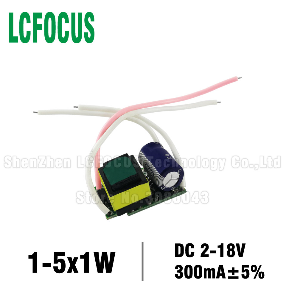 <font><b>1</b></font>-5x1W <font><b>LED</b></font> <font><b>Driver</b></font> Constant Current 300mA 1W 2W 3W 4W 5W DC 2-18V PCB Board <font><b>1</b></font> 2 3 4 5 W <font><b>Watt</b></font> Lighting Transformers Power Supply image