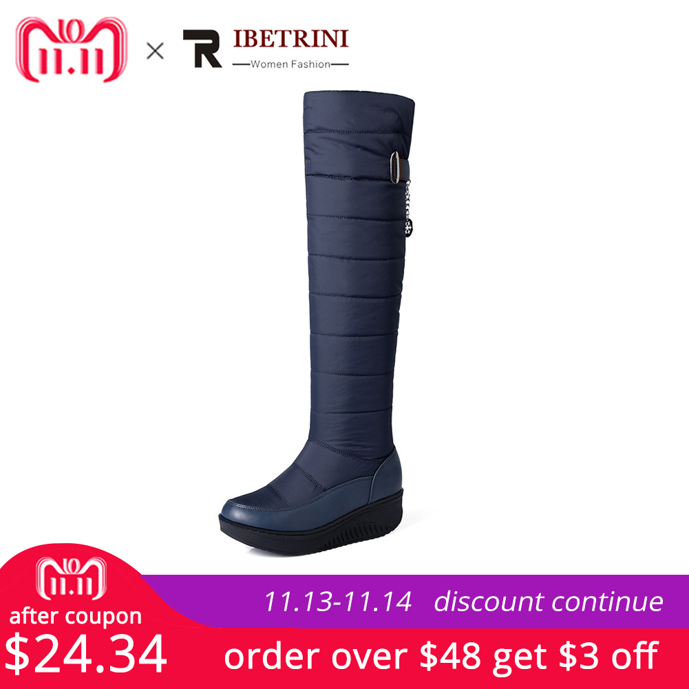 RIBETRINI Women Over The Knee High Long Boots Thick Flat Platform Winter Fur Shoes Woman Snow Boots Botas Mujer Plus Size 35-44 2018 winter women s boots knee high boots thick heel high heeled long boots cotton padded warm snow boots shoes woman botas