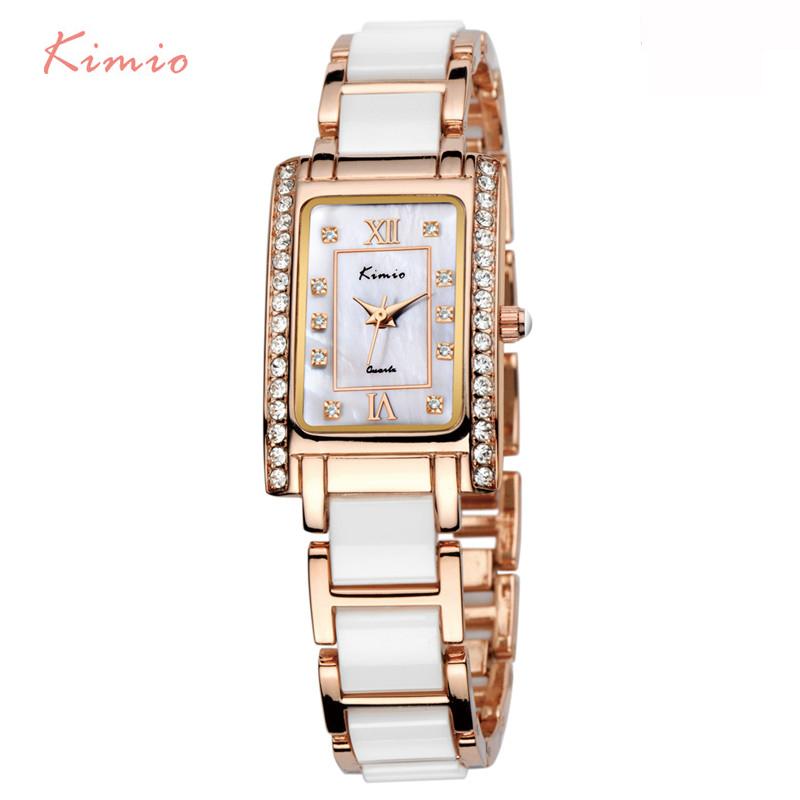 Prix pour Kimio carré rectangle or rose montre strass dames bracelet montre de luxe femmes marque bracelet à quartz montres pour femmes casual