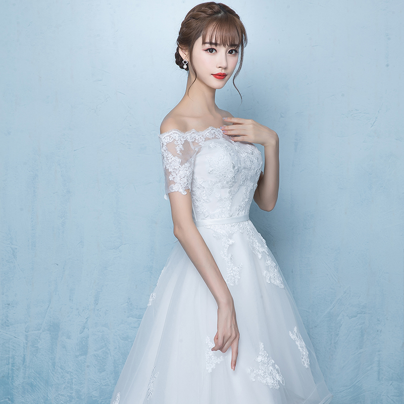 Beauty Emily White Asymmetrical Wedding Dresses 2018 Court Train ...