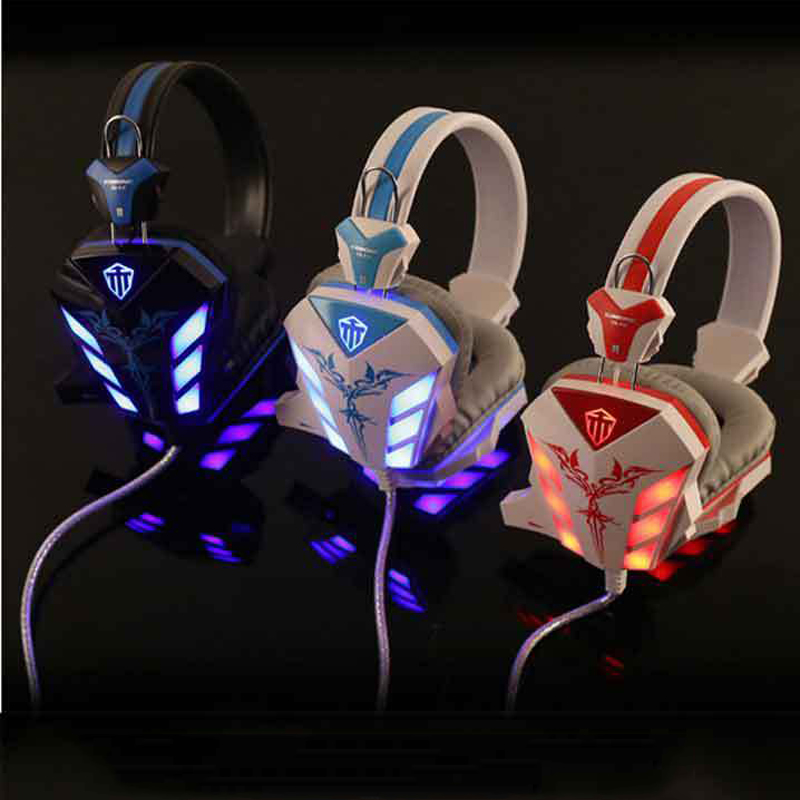 Over-ear CD-618 HiFi Stereo Super Bass LED Light Gaming Headphone Headset with Crack Line Volumn Control Microphone for PC Gamer cd 618 crack led light cool headphone with microphone bass stereo headset earphone wired usb pro for computer gamer headband pc