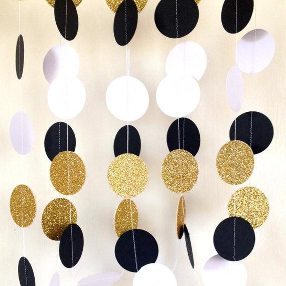 jumbo great gatsby bertema pernikahan garland kertas garland hitam putih emas bridal shower baby