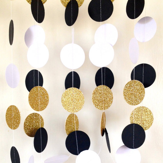 Jumbo Great Gatsby Themed Wedding GarlandPaper Garland Black White Gold Bridal Shower Baby Birthday PartyGold In Banners Streamers Confetti