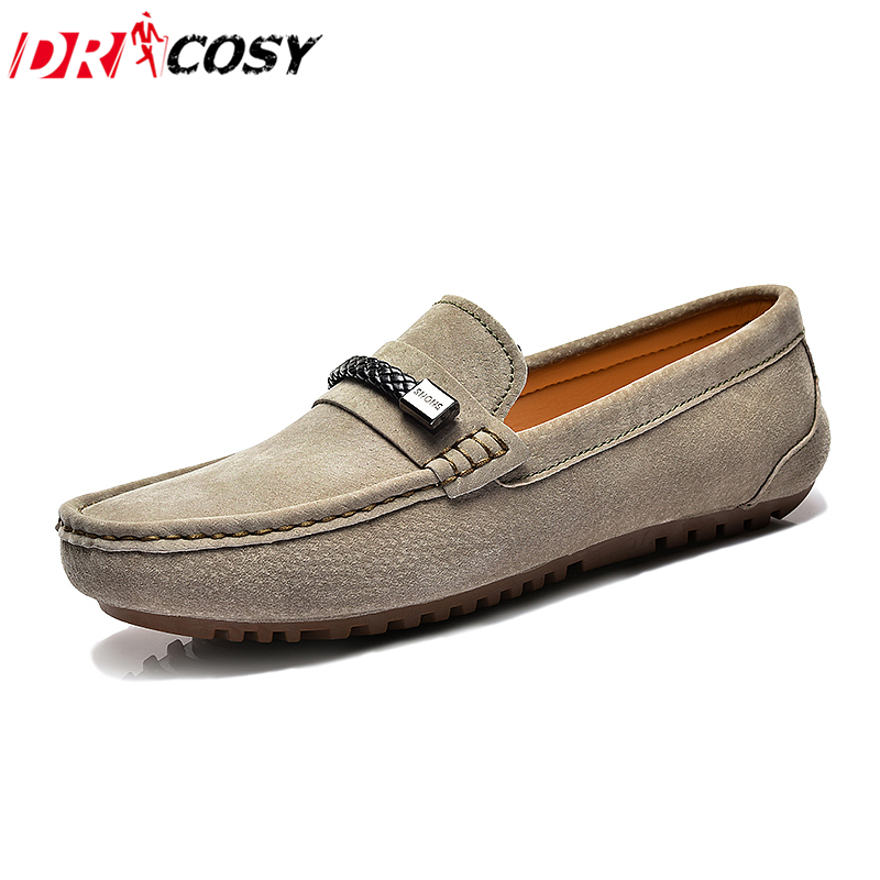 Casual Men Loafers Summer Genuine Leather Driving Shoes Flats Suede Moccasins Fashion Slip On Breathable Boat Shoes Size 38-44 stylish plunging neck open back one piece swimwear for women