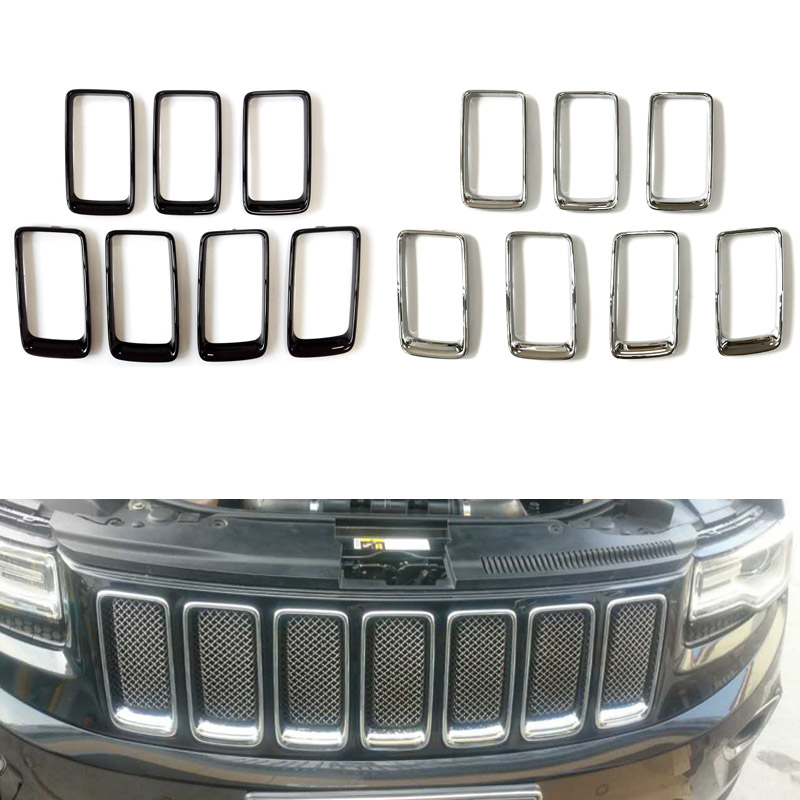 Front Racing Grill Grille Vent Trim Ring Cover Grille Vent Trim Ring Insert Cover Buckle Kit For Jeep Grand Cherokee 2014-2016 купить