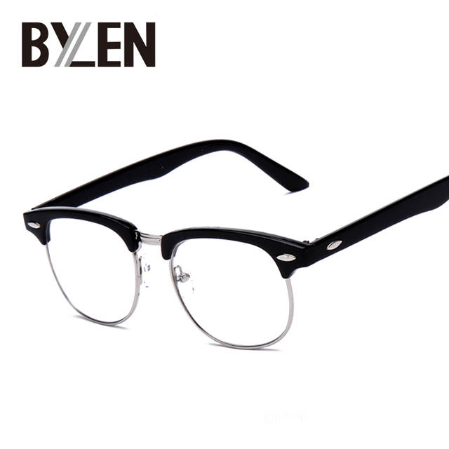 c0f1d5b08f Vintage Eyeglasses Women Semi-rimless reading Plain Glass Spectacles frame  classic Men Brand Designer rivet