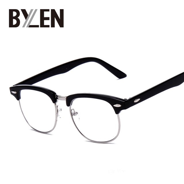 Vintage Kacamata Wanita Semi Tanpa Bingkai Kaca Polos Kacamata Bingkai  Klasik Pria Merek Rivet Pria Kacamata 1c0f8e83dd