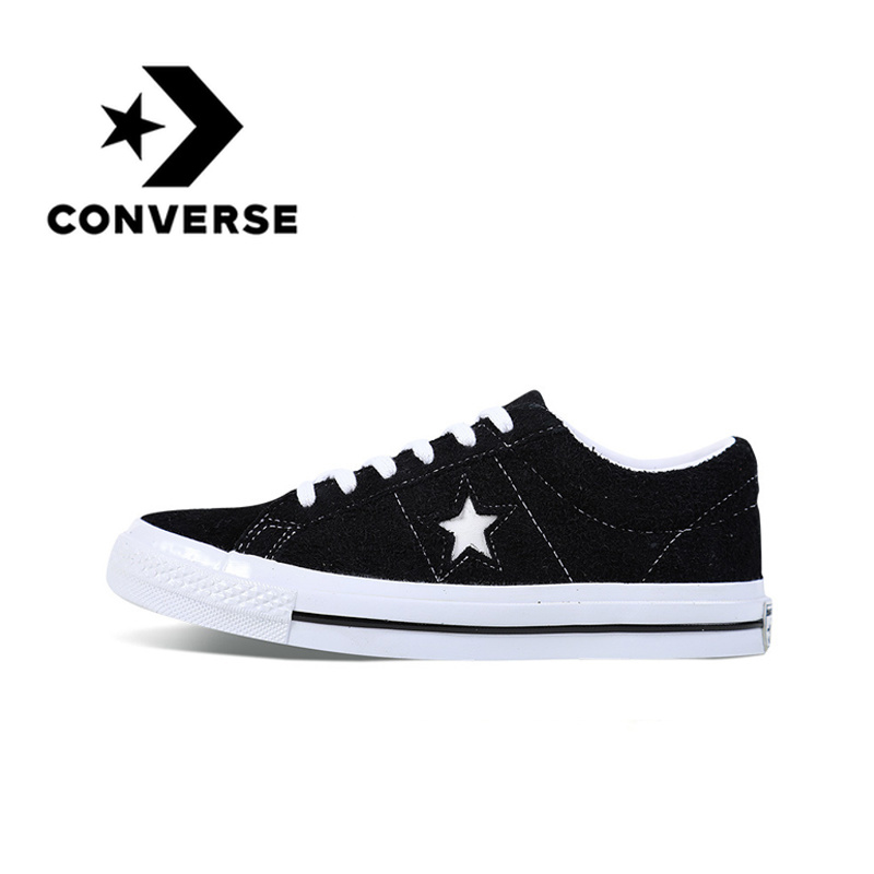 Converse One Star Skateboarding Shoes Original Classic Unisex Canvas Low Top Anti-Slippery Comfortable Casual Light Flat Shoes e lov women casual walking shoes graffiti aries horoscope canvas shoe low top flat oxford shoes for couples lovers