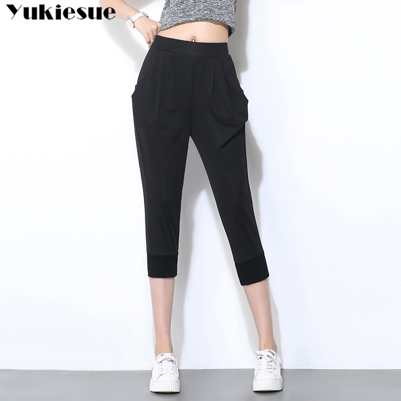 streetwear summer 2019 women's female high waist harem   pants     capris   for women trousers woman Plus large size 5XL 6XL black