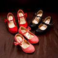 J.G Chen 2016 Girls PU Leather Shoes Fashion Party Dancing Shoes For Medium Kids With High Heel Princess Children Single Shoes