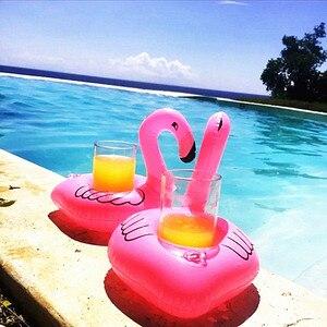 Portavasos inflables de flamenco, 10 Uds., juguete flotante para fiesta en la piscina, suministros de decoración para fiesta de despedida de soltera hawaiana