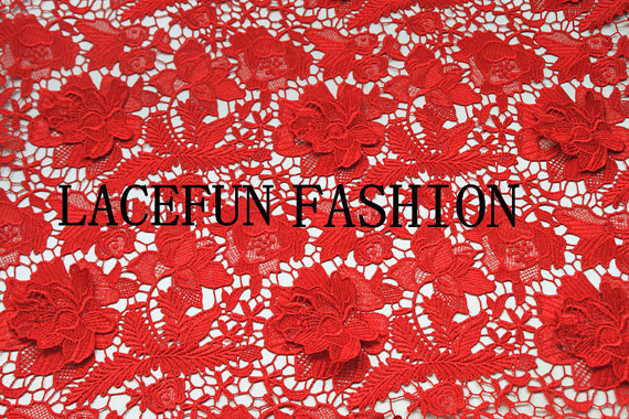 Red lace fabric, crocheted hollowed out florals embroidered Poenies, venice lace fabric