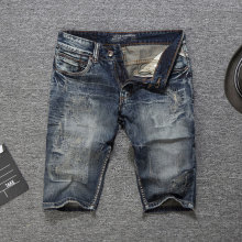 цены 2019 Italian Style Fashion Men Jeans Shorts Slim Fit Short Ripped Jeans Summer Knee Length Denim Shorts Men,New Men Shorts Pants
