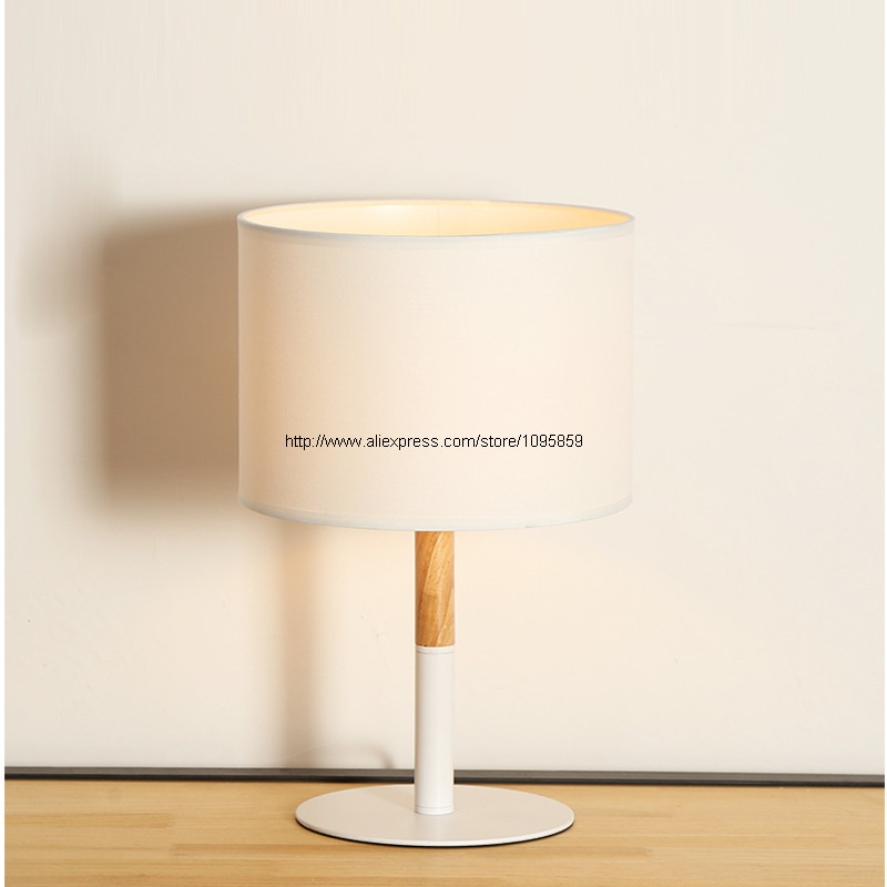 Modern Table Lamp Desk Light Bedroom Bedside Lighting Wood Lamps White Black indoor brief solid oak wood textile desk lamp fabrics lampshade table light bedroom bedside warm lampara night light luminaria