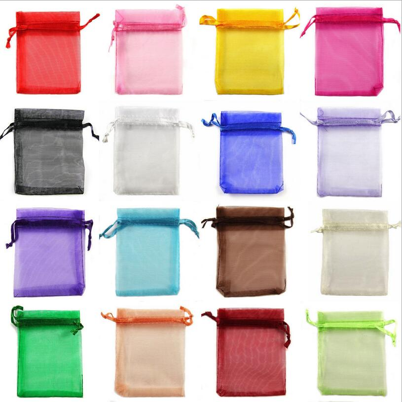 50pcs Multi Size Colorful Drawstring Organza Jewelry Bags Wedding Christmas Pouches Bag For Gift Packaging Supplies Z342