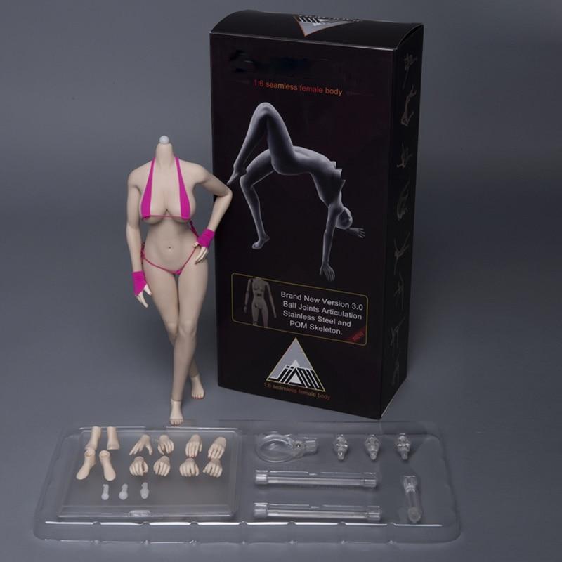 JIAOU DOLL 1/6 scale Seamless pale/ suntan Large Breast Bust Female Body for 1/6 Head Figure Set