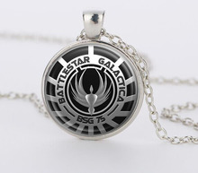 Battlestar Galactica Pendant Glass Dome necklaces Pendants silver vintage Necklace for men women  gift  movie jewelry CN-428