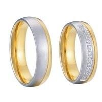 2ชิ้นคลาสสิกบุรุษและสตรีตะวันตกสีทองczหินแต่งงานแหวนชุดสำหรับคู่คนรั