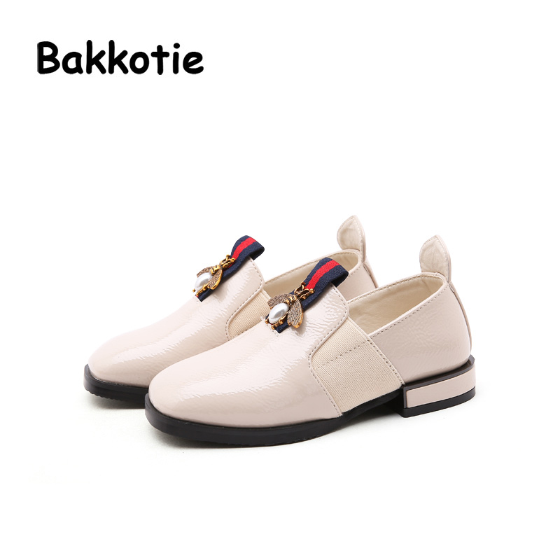 Bakkotie 2018 Autumn Fashion New Children Bee Shoes Baby Girl Pearl Pu  Leather Flats Kid Soft Brand Mesh Black Shoes Oxford-in Leather Shoes from  Mother ... 83ae559348bb