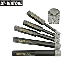 DT-DIATOOL 2pcs Dia 5/6/8/10/12mm Dry Vacuum Brazed Hex Shank Diamond Drill Core Bits for Ceramic Tile Marble Drilling Hole Saw diatool 2pcs hex vacuum brazed wet drill bits hexagon shank diamond wet drilling core bits for stone concrete ceramic