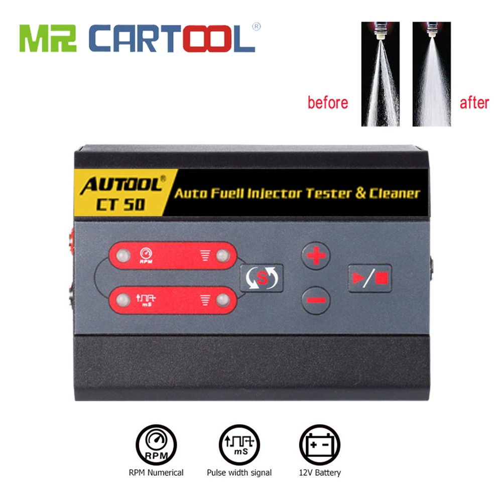 CARTOOL CT50 Car Fuel Injector Cleaning Machine Automotive Diesel Gas Injectors Nozzles Cleaner Tester Fuel Pump