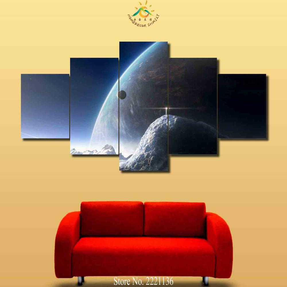3 4 5 Pieces Large Planets Sky Modern Wall Art Canvas Printed ...