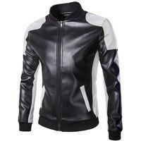 2019 Men's Autumn Stand Collar Jacket Black White Waterproof Stitching Racing Coat PU Leather Jacket Plus Size 5XL