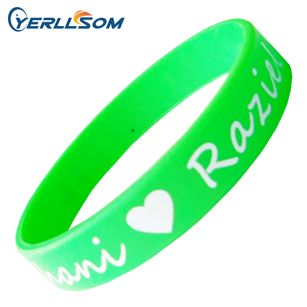 YERLLSOM 200pcs Lot High Quality silicone bracelets with personal wiring for wedding events P041508