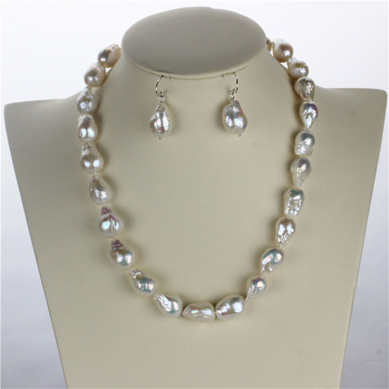 SNH AA+ 12mm edison pearl Necklace/Earrings 100% 925 sterling silver natural cultured freshwater pearl jewelry sets snh 36inches baroque 11 12mm aa real freshwater natural pearl necklace women fine necklace jewelry pearl 925 sterling silver