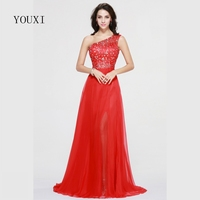 Sexy One Shoulder Side Slit Red Prom Dresses 2017 New Chiffon Beaded Crystal Formal Evening