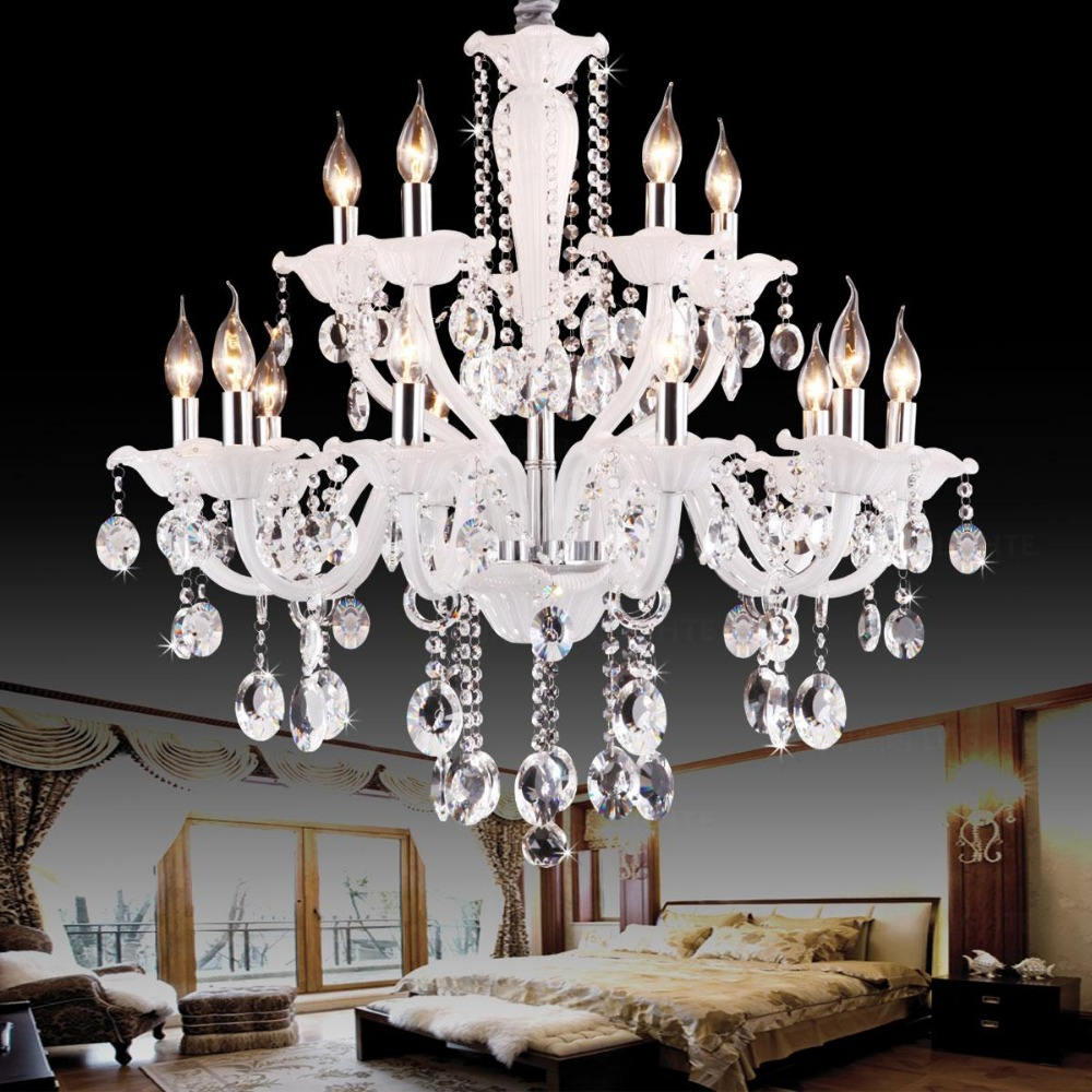 Dining Room Modern Crystal Chandeliers: White Dining Room Chandeliers Lighting Led Modern Crystal