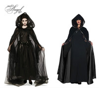 Halloween Death Hell Cosplay Costume Women Dress Service Witch Devil Vampire Long Skirt Black Cloak Robe Witch Elf