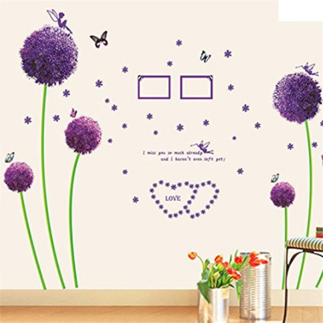 3d wall stickers flowers bathroom romantic purple lavender poster